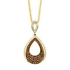 Champagne Brilliance 18k Gold Over Silver Teardrop Pendant