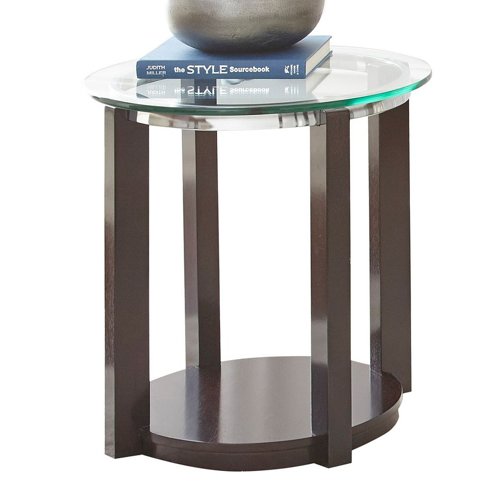 Cerchio Mixed-Media Glass End Table
