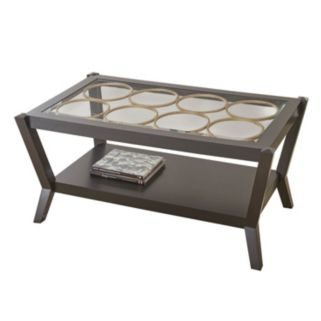 Doreen Gold Finish Circles Glass Coffee Table