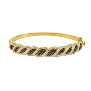 Champagne Brilliance 18k Gold Over Silver Crystal Swirl Hinged Bangle Bracelet