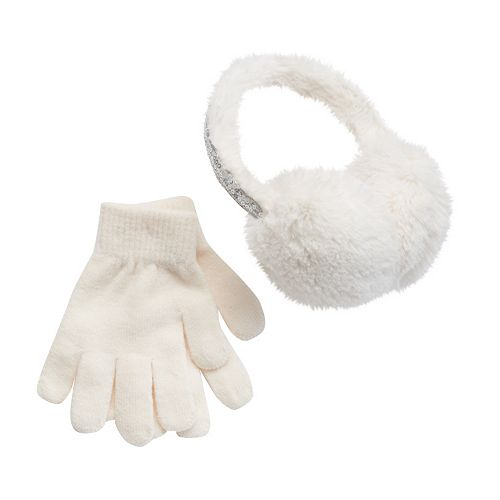 Girls 4-16 Faux-Fur Sequin Halo Earmuffs & Gloves Set