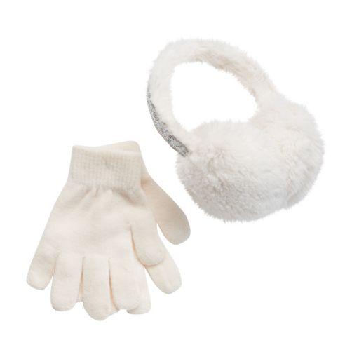 Girls 4-16 Faux-Fur Sequin Halo Earmuffs & Gloves Set