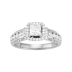 14k White Gold 1 1/2 Carat T.W. Diamond Princess Cut Engagement Ring