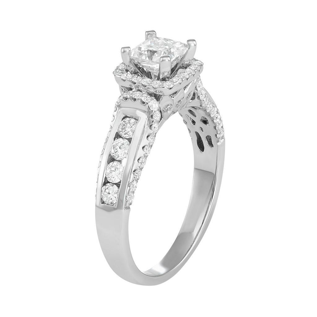 14k White Gold 1 1/2 Carat T.W. Diamond Princess Cut Engagement Ring
