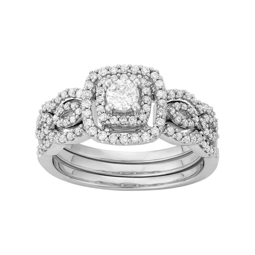 10k White Gold 7/8 Carat T.W. Diamond Scalloped Engagement Ring Set