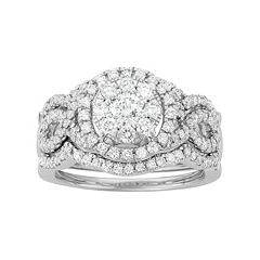 14k White Gold 1 5/8 Carat T.W. Diamond Scalloped Engagement Ring Set
