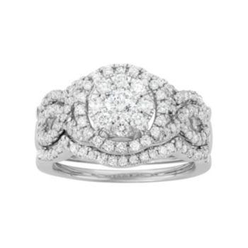14k White Gold 1 5/8 Carat T.W. Diamond Scalloped Engagement Ring Set