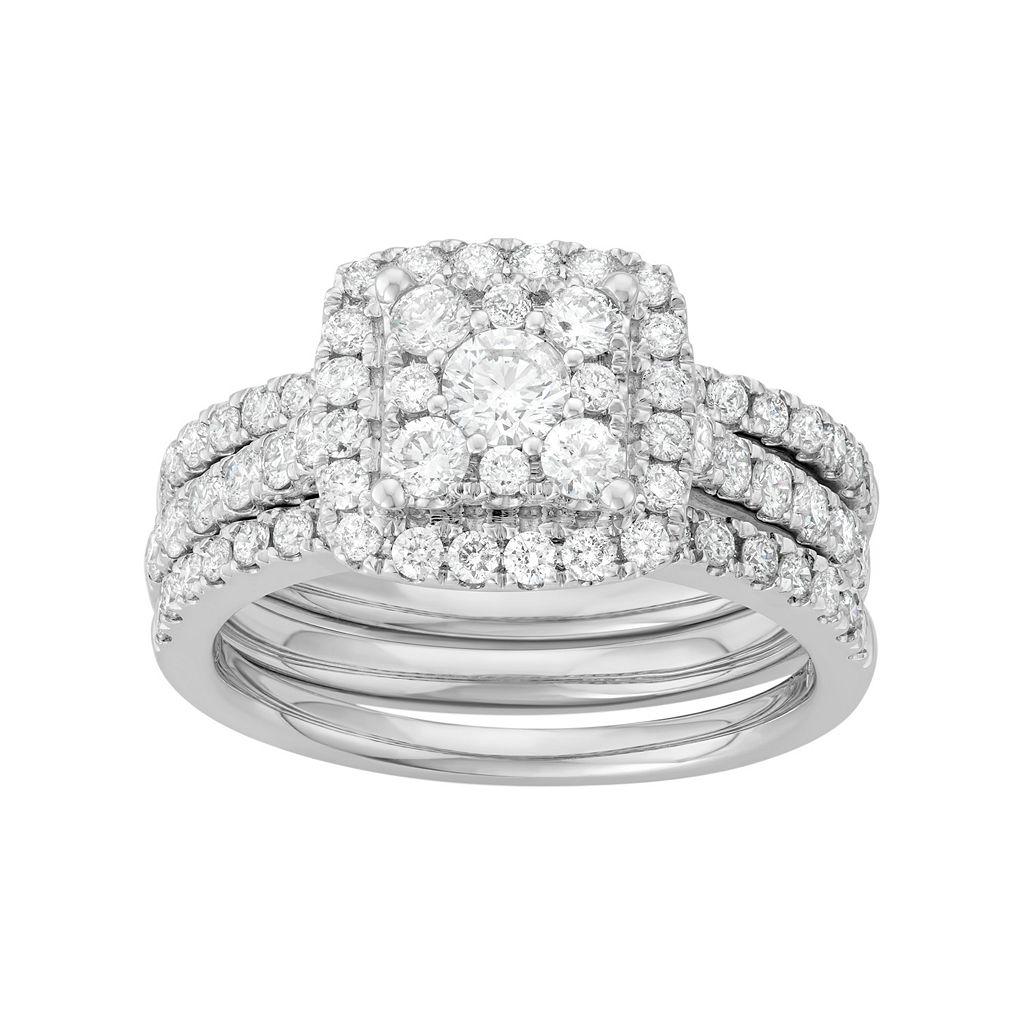 14k White Gold 1 3/4 Carat T.W. Diamond Square Halo Engagement Ring Set