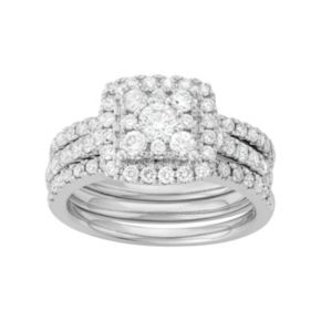 14k White Gold 1 3/4 Carat T.W. Diamond Square Halo Engagement Ring Set