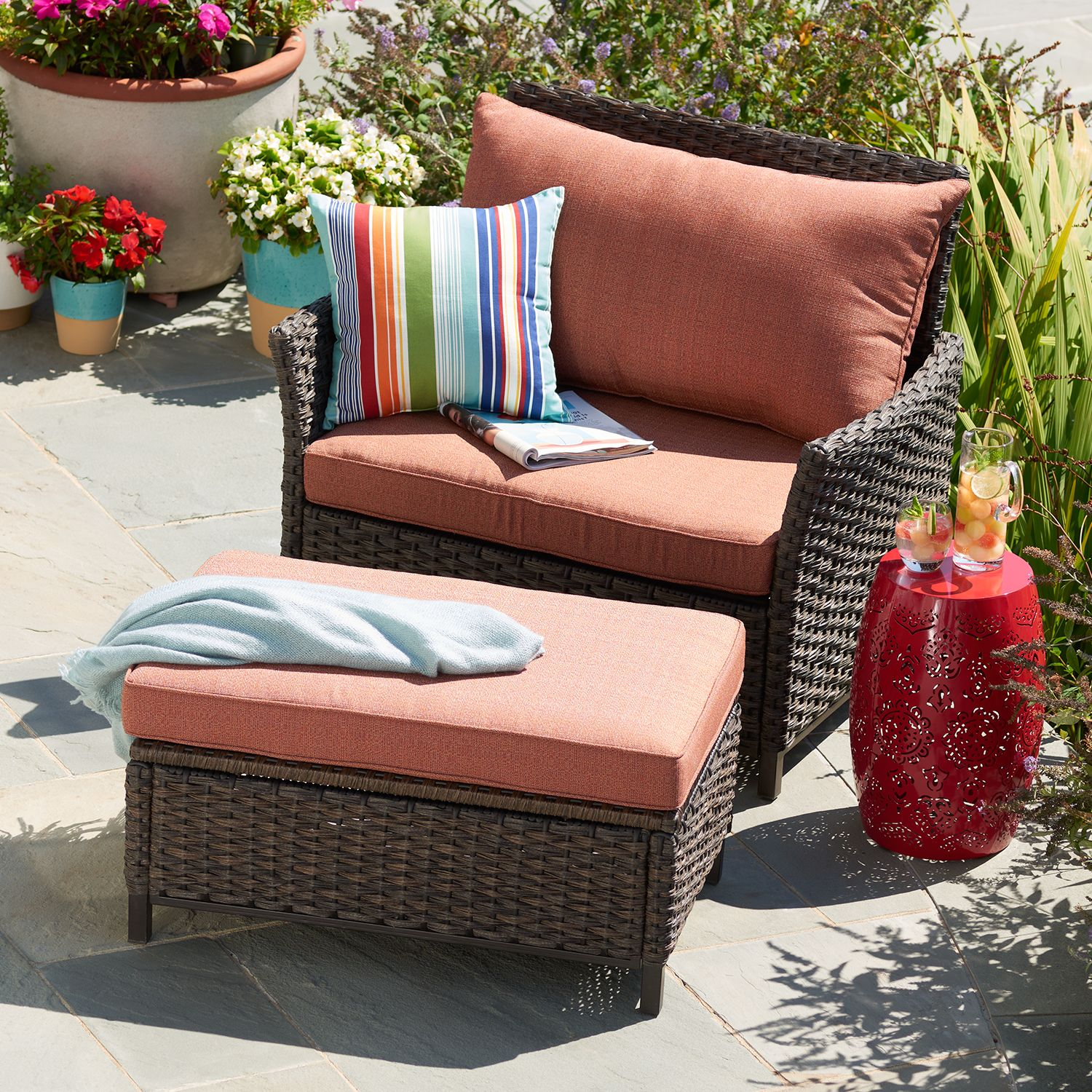 SONOMA Goods For Life™ Biscay Patio Cuddle Arm Chair U0026 Ottoman 2 Piece Set