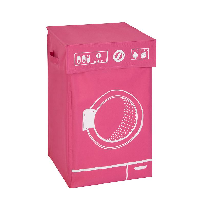 Honey-Can-Do Graphic Washing Machine Hamper With Lid, Pink