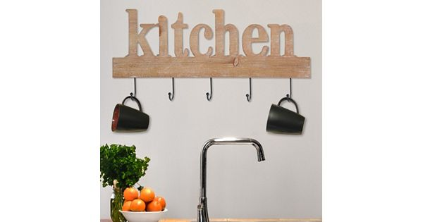 "Stratton Home Decor ""Kitchen"" Sign 5-Hook Wall Decor"