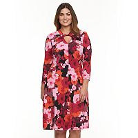 Plus Size Suite 7 Floral Twist-Neck Fit & Flare Dress