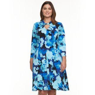Plus Size Suite 7 Floral Twist-Neck Fit & Flare Dress