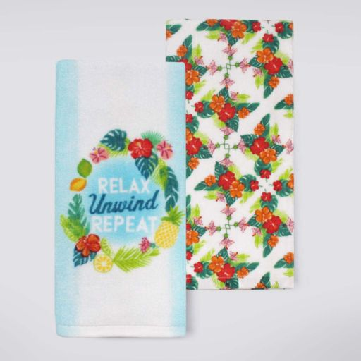 """Celebrate Summer Together """"Relax Unwind Repeat"""" Kitchen Towel 2-pk."""