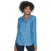 Juniors' SO® Button Down Chambray Shirt