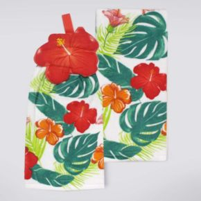 Celebrate Summer Together Button-Top Hibiscus Kitchen Towel 2-pk.