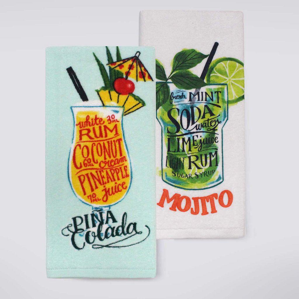 Celebrate Summer Together Tropical Drink Kitchen Towel 2-pk.