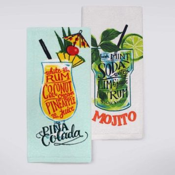 Celebrate Summer Together Tropical Drink Kitchen Towel 2-pk.