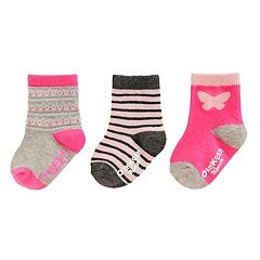 Baby Girl / Toddler Girl OshKosh B'gosh® 3 pkPrint Crew Socks