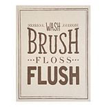 "Stratton Home Decor ""Wash Brush Floss Flush"" Linen Wall Art"