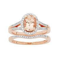 14k Rose Gold Morganite & 1/5 Carat T.W. Diamond Oval Halo Engagement Ring Set