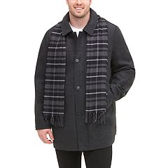 Big & Tall Dockers Wool-Blend Car Coat with Plaid Scarf