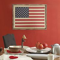 Stratton Home Decor American Flag Linen Wall Art