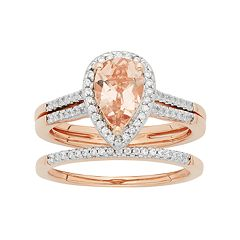 14k Rose Gold Morganite & 1/5 Carat T.W. Diamond Pear Halo Engagement Ring Set