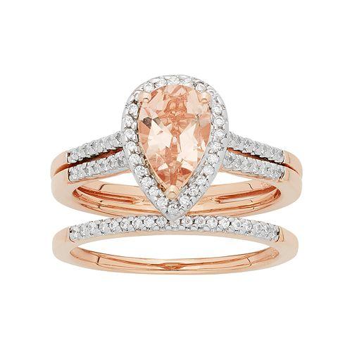 14k Rose Gold Morganite Amp 1 5 Carat T W Diamond Pear Halo