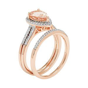 14k Rose Gold Morganite & 1/5 Carat T.W. Diamond Pear Halo Engagement Ring Set