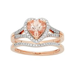 14k Rose Gold Morganite & 1/5 Carat T.W. Diamond Heart Halo Engagement Ring Set