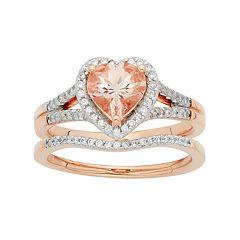 14k Rose Gold Morganite & 1/5 Carat T.W. Diamond Heart Halo Engagement Ring Set