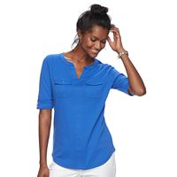 Women's Croft & Barrow® Pocket Roll-Tab Tee