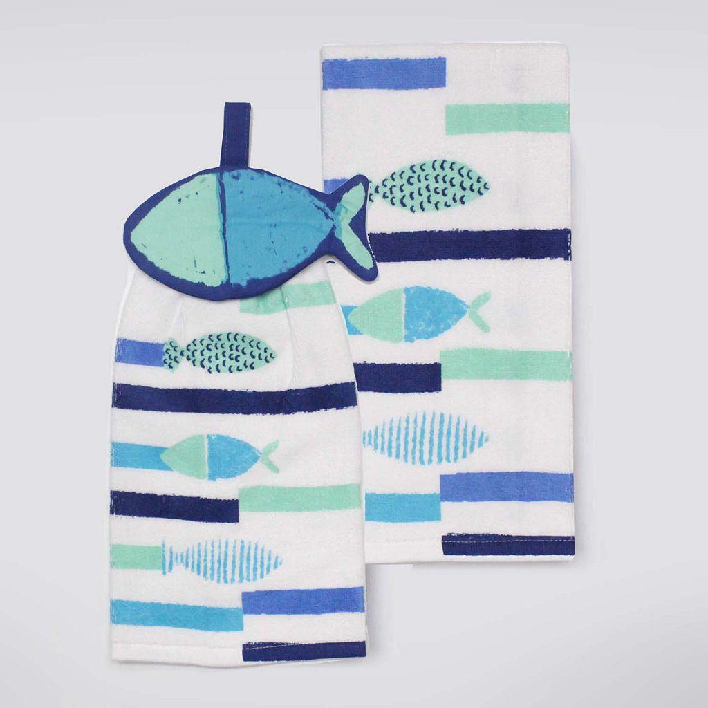 Celebrate Summer Together Tie-Top Fish Kitchen Towel 2-pk.