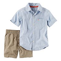 Toddler Boy Carter's Short Sleeve Stripe Button-Down Shirt & Canvas Shorts Set