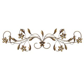 Stratton Home Decor Vintage Floral Scroll Metal Wall Decor