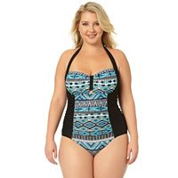 Juniors' Plus Size In Mocean Tribal Print Tummy-Slimmer One-Piece Swimsuit