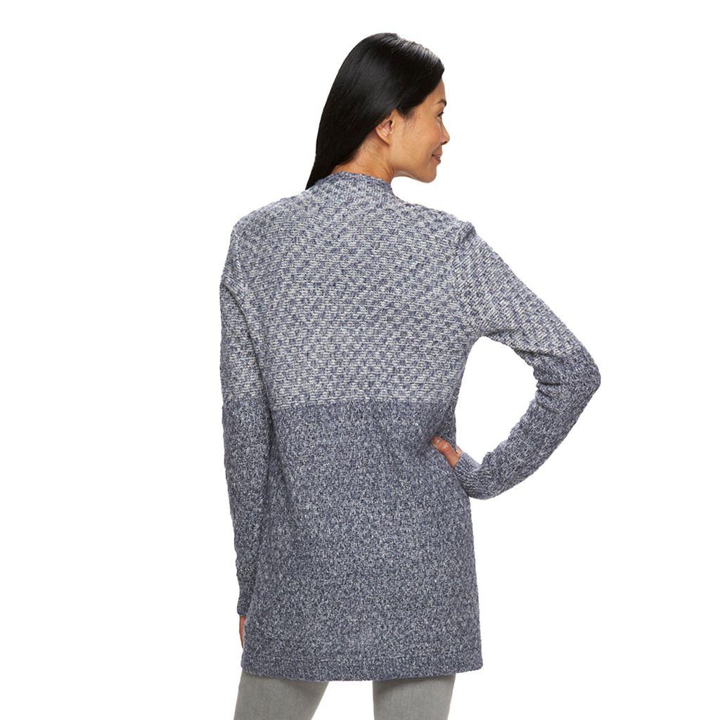 Women's Croft & Barrow® Marled Colorblock Cardigan