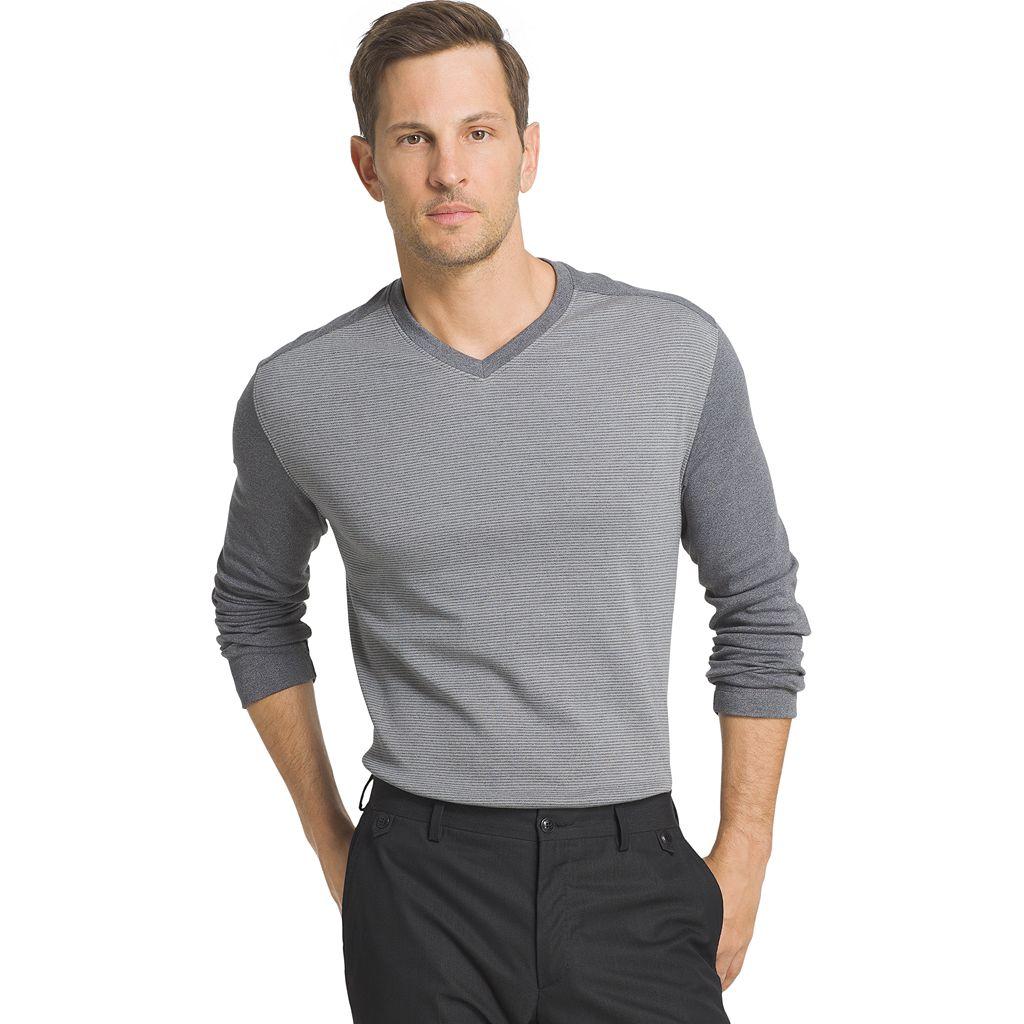 Big & Tall Van Heusen Jaspe Classic-Fit Colorblock V-Neck Sweater