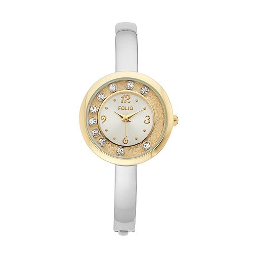 Folio Women's Floating Crystal Bangle Watch