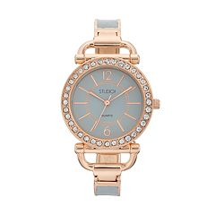 Studio Time Women's Crystal Hinged Cuff Watch