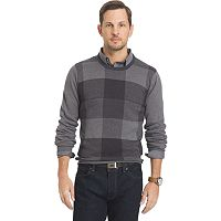 Big & Tall Van Heusen Classic-Fit Fine Gauge Plaid Crewneck Sweater