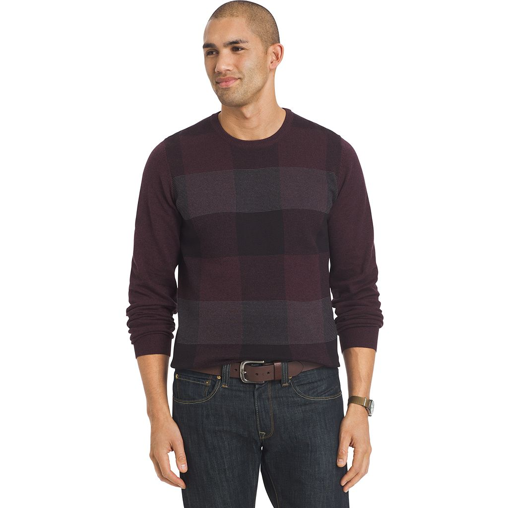 Big & Tall Van Heusen Classic-Fit Fine Gauge Plaid Crewneck Sweater