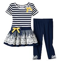 Toddler Girl Blueberi Boulevard Striped Tunic & Leggings Set