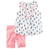 Girls 4-8 Carter's Palm-Tree Tank Top & Bike Shorts Set
