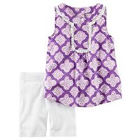 Girls 4-8 Carter's Fringe Tank Top & Bike Shorts Set