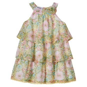 Toddler Girl Blueberi Boulevard Floral Chiffon Tiered Dress