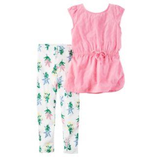 Girls 4-8 Carter's Flutter Eyelet Sleeve Top & Floral Leggings Set