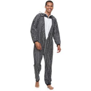 "Men's ""The Nightmare Before Christmas"" Jack Skellington Hooded Fleece Union Suit"
